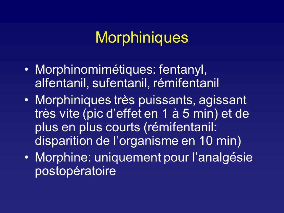 Morphiniques Morphinomimétiques: fentanyl, alfentanil, sufentanil, rémifentanil Morphiniques très puissants, agissant très vite (pic deffet en 1 à 5 min) et de plus en plus courts (rémifentanil: disparition de lorganisme en 10 min) Morphine: uniquement pour lanalgésie postopératoire