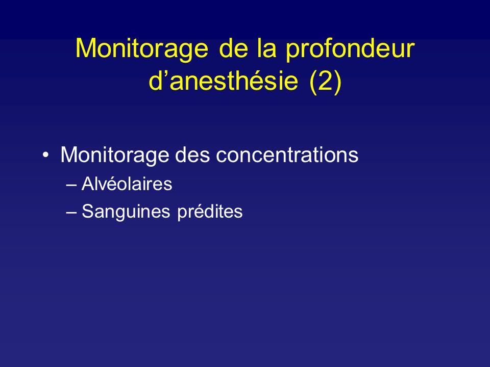 Monitorage des concentrations –Alvéolaires –Sanguines prédites Monitorage de la profondeur danesthésie (2)