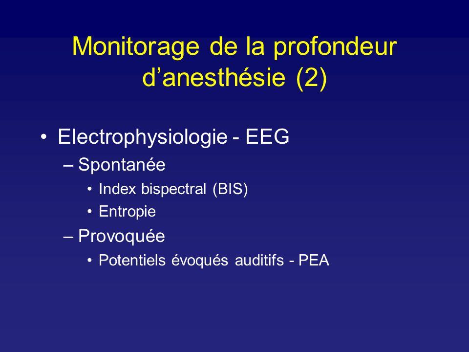 Electrophysiologie - EEG –Spontanée Index bispectral (BIS) Entropie –Provoquée Potentiels évoqués auditifs - PEA Monitorage de la profondeur danesthésie (2)