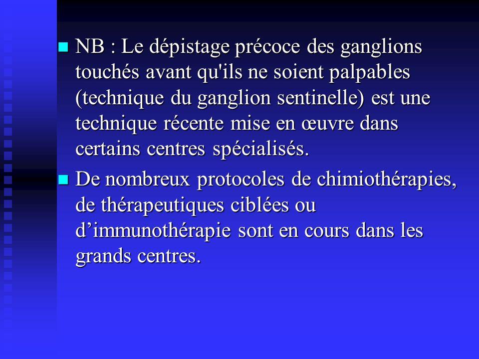 NB : Le dépistage précoce des ganglions touchés avant qu'ils ne soient palpables (technique du ganglion sentinelle) est une technique récente mise en