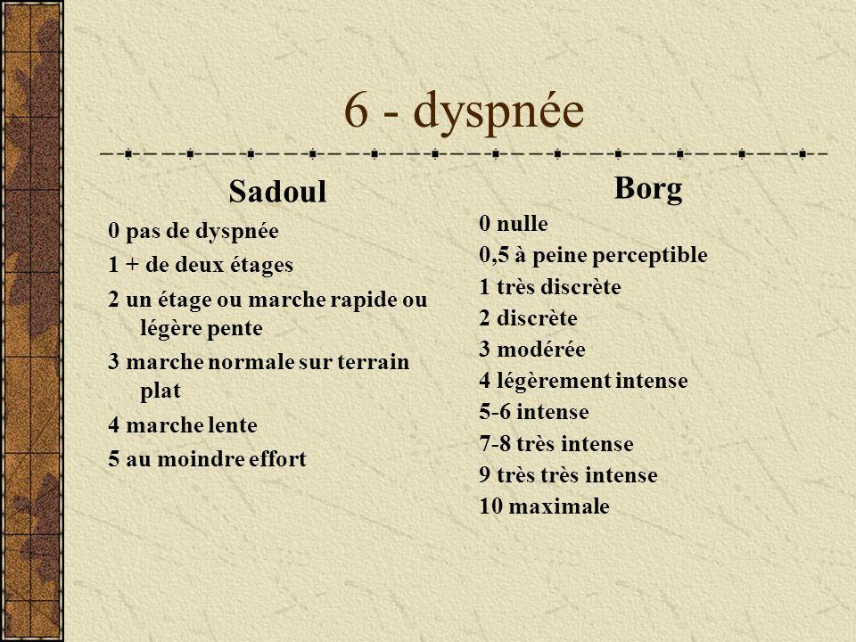 6 - dyspnée Sadoul 0 pas de dyspnée 1 + de deux étages 2 un étage ou marche rapide ou légère pente 3 marche normale sur terrain plat 4 marche lente 5