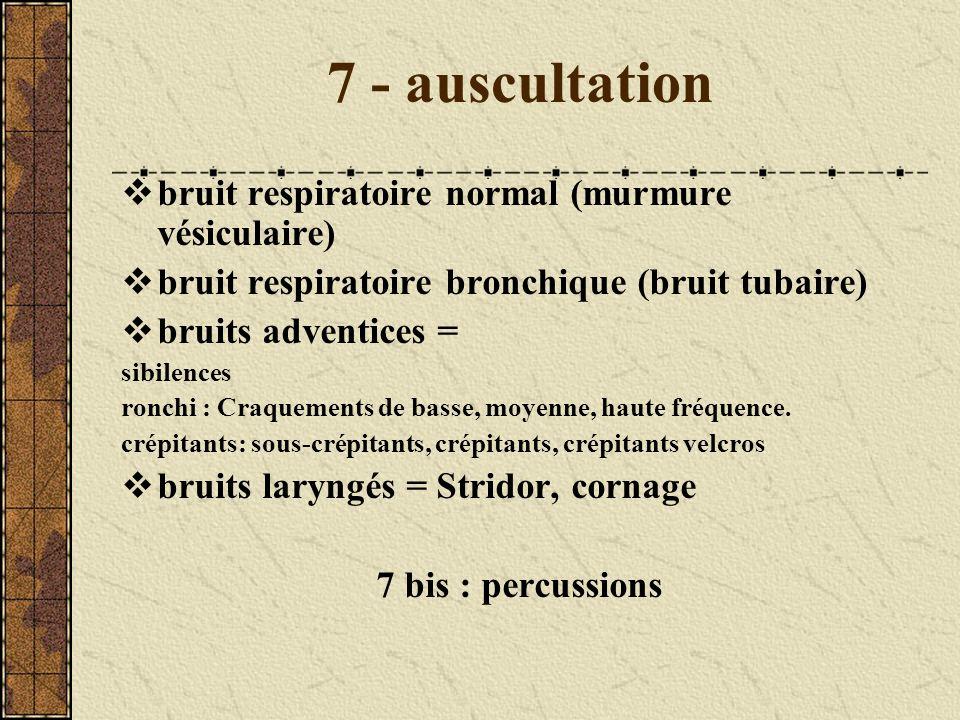 7 - auscultation bruit respiratoire normal (murmure vésiculaire) bruit respiratoire bronchique (bruit tubaire) bruits adventices = sibilences ronchi :