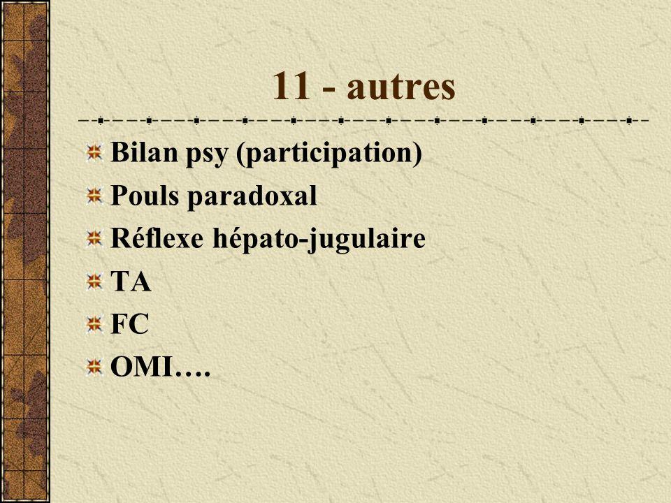 11 - autres Bilan psy (participation) Pouls paradoxal Réflexe hépato-jugulaire TA FC OMI….