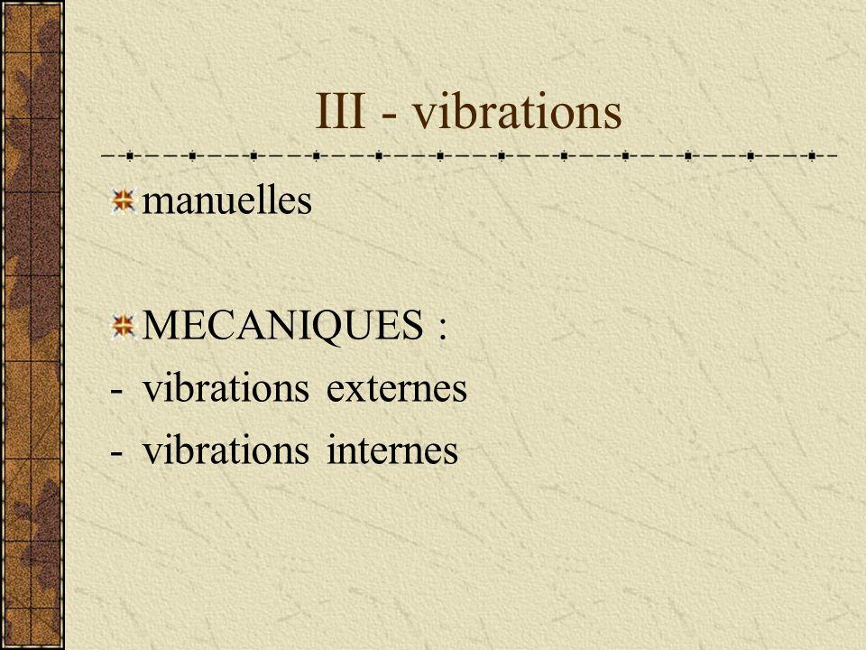 III - vibrations manuelles MECANIQUES : -vibrations externes -vibrations internes
