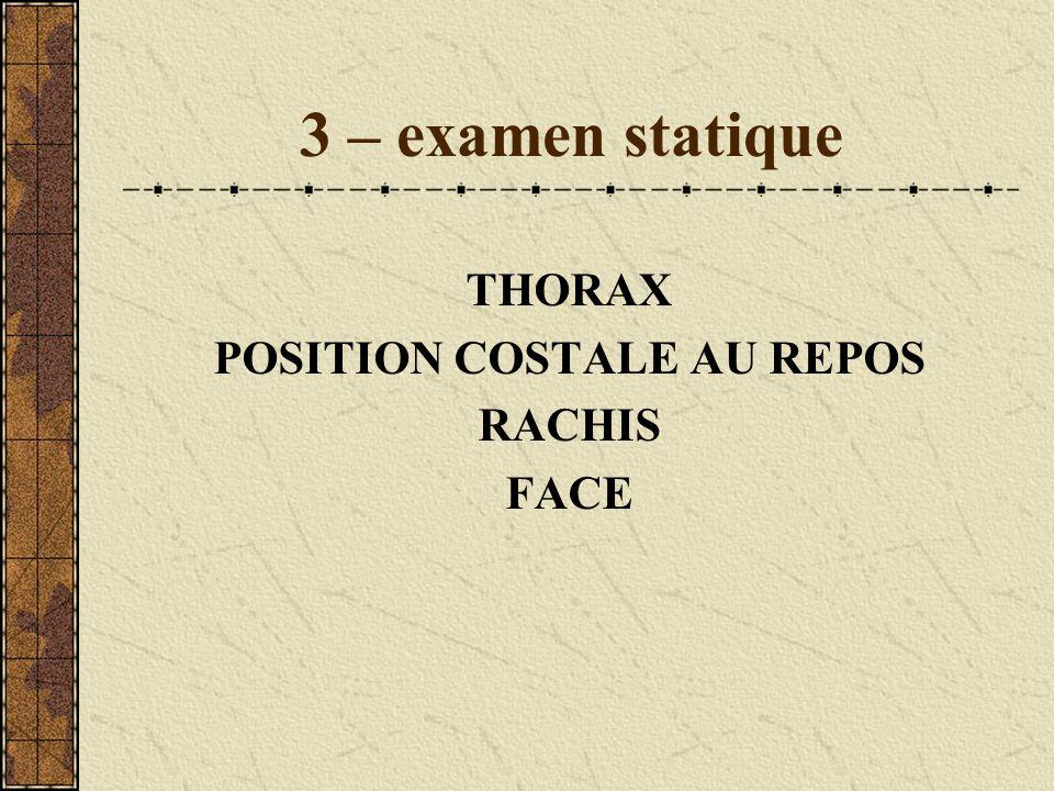 3 – examen statique THORAX POSITION COSTALE AU REPOS RACHIS FACE