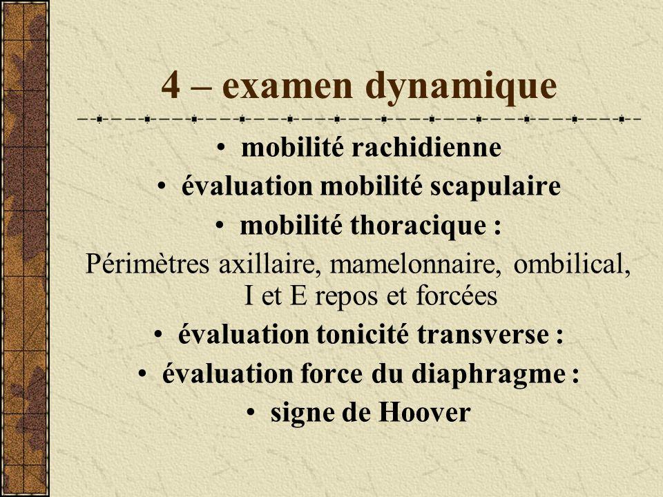 4 – examen dynamique mobilité rachidienne évaluation mobilité scapulaire mobilité thoracique : Périmètres axillaire, mamelonnaire, ombilical, I et E r