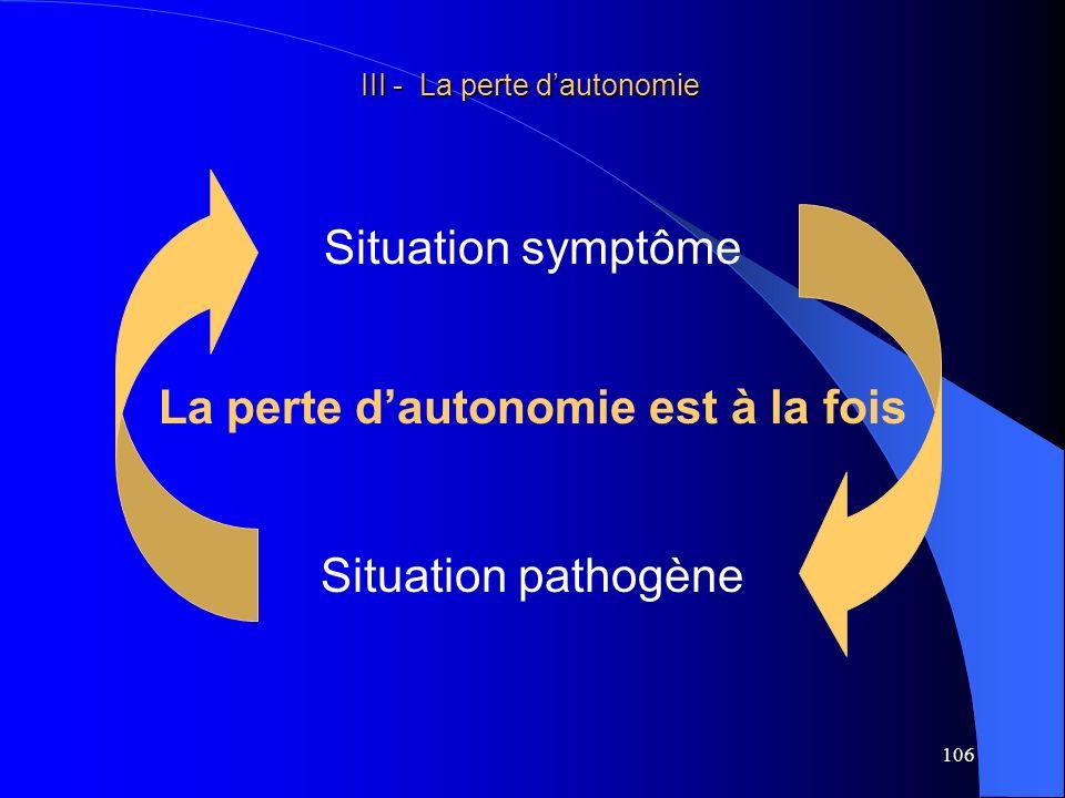 107 III - La perte dautonomie III - La perte dautonomie Situation symptôme : La perte dautonomie peut être considérée comme le maître symptôme de la gériatrie et de la gérontologie.