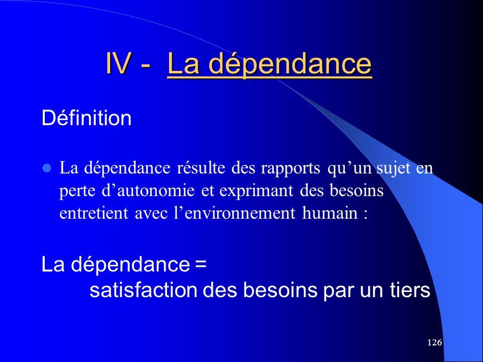 127 IV - La dépendance IV - La dépendance La dépendance qualifie donc un sujet qui a besoin dun tiers pour faire une activité : Etre dépendant = faire avec