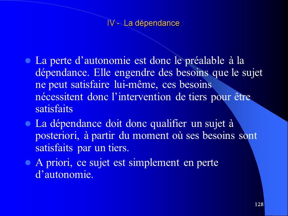 129 Dune perte dautonomie préalable et non de la perte dautonomie préalable (dans sa totalité), à moins que cette dépendance couvre la totalité des besoins .