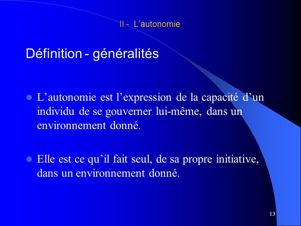 14 II - Lautonomie II - Lautonomie en un mot Etre autonome = faire Définition - généralités