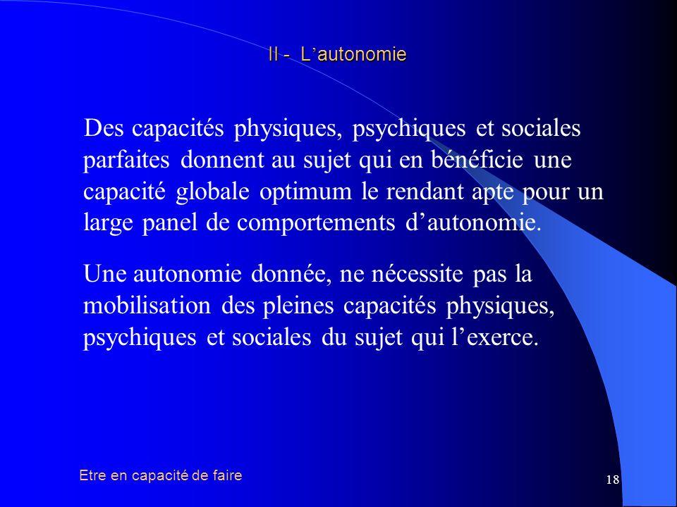 19 PhysiquePsychique Sociale II - L autonomie II - L autonomie Cest léquilibre harmonieux de ces trois dimensions met le sujet en capacité globale de faire ( « je peux faire » ), et son autonomie ( « je fais » ) est lexpression de cette capacité sous réserve des conditions suivantes.