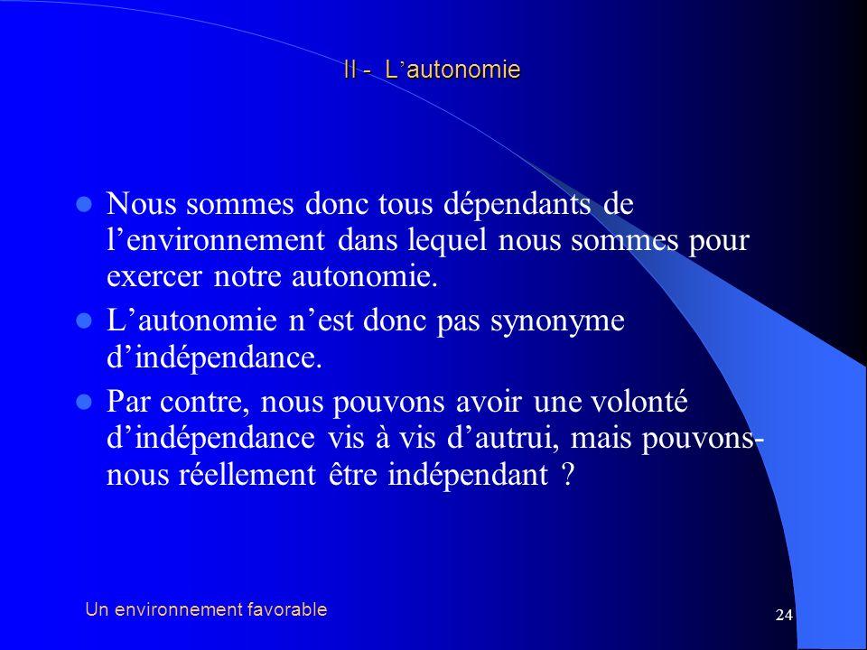 25 Autonomie =/= indépendance II - L autonomie II - L autonomie Lindépendance nexiste pas, elle est un leurre Un environnement favorable