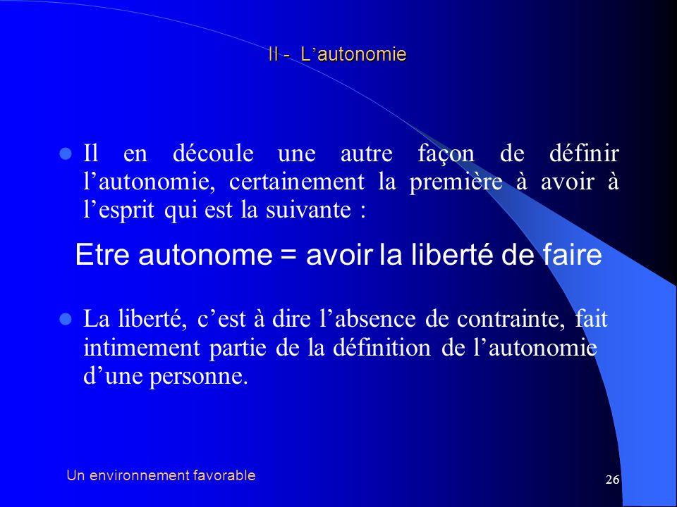 27 acte volontaire II - L autonomie II - L autonomie capacité environnement favorable AUTONOMIE Troisième condition nécessaire à lexercice de lautonomie :