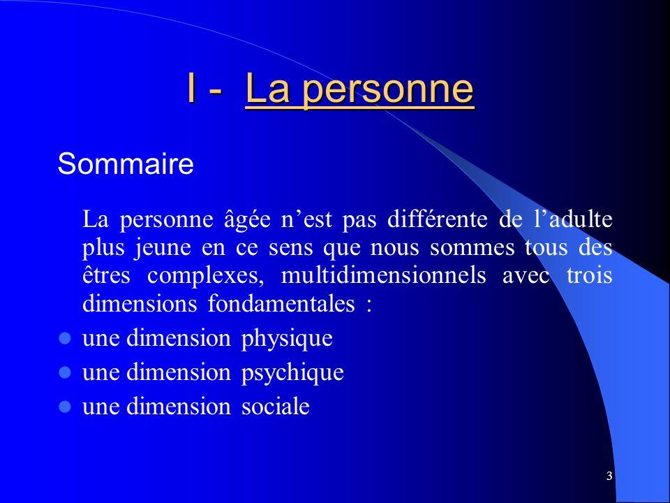4 PhysiquePsychique Sociale I - La personne I - La personne Trois dimensions fondamentales de la personne