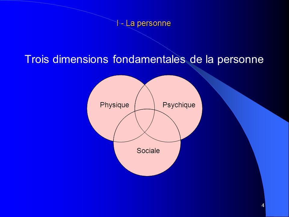 5 I - La personne I - La personne Une dimension physique : le corps avec sa physiologie son métabolisme son homéostasie… dont lintégrité ou lefficience va permettre au sujet de mobiliser les capacités physiques nécessaires