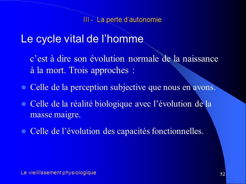 53 III - La perte dautonomie III - La perte dautonomie Le cycle vital de lhomme Perception subjective : Années Phase de croissance Phase en plateau Phase de déclin trois phases Le vieillissement physiologique