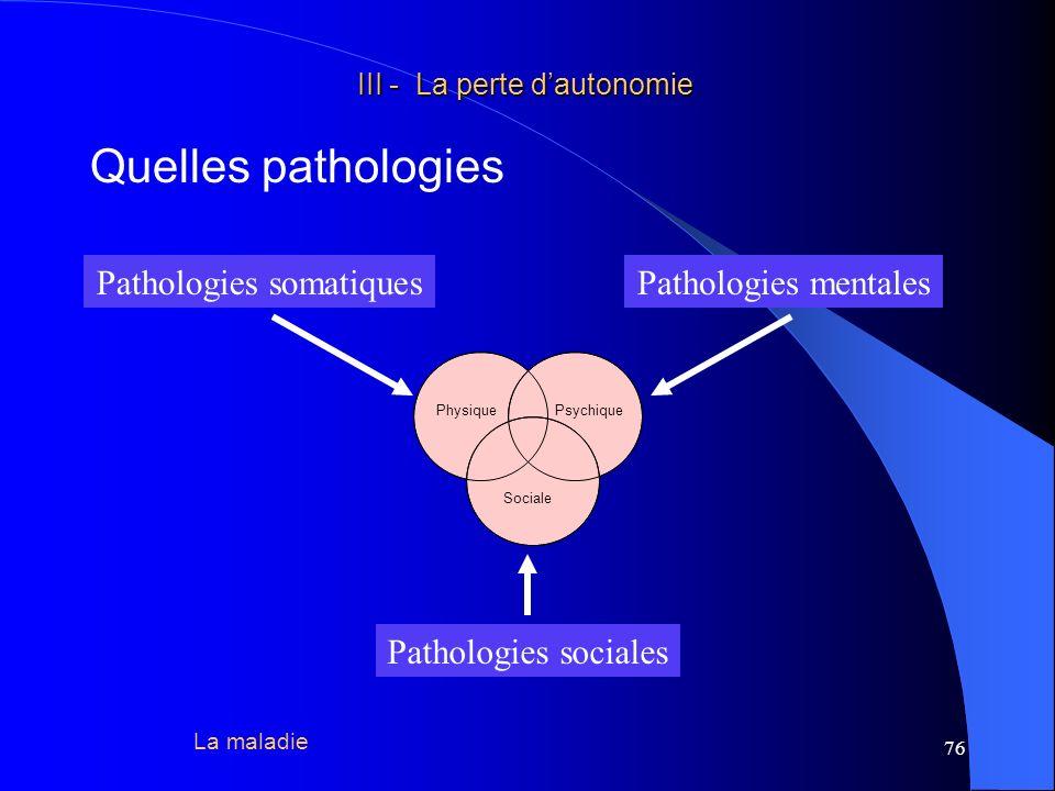 77 III - La perte dautonomie III - La perte dautonomie Quelles pathologies Toutes les pathologies organe par organe peuvent être passées en revue, quelles soient de nature infectieuse, tumorale, de système, auto-immune, génétique, dégénérative, traumatique… Un certain nombre de maladies contractées à lâge adulte poursuivent leur évolution lors de lavance en âge, la plupart dans le sens de laggravation, pour certaines dans le sens dune amélioration (P.M.D.) La maladie