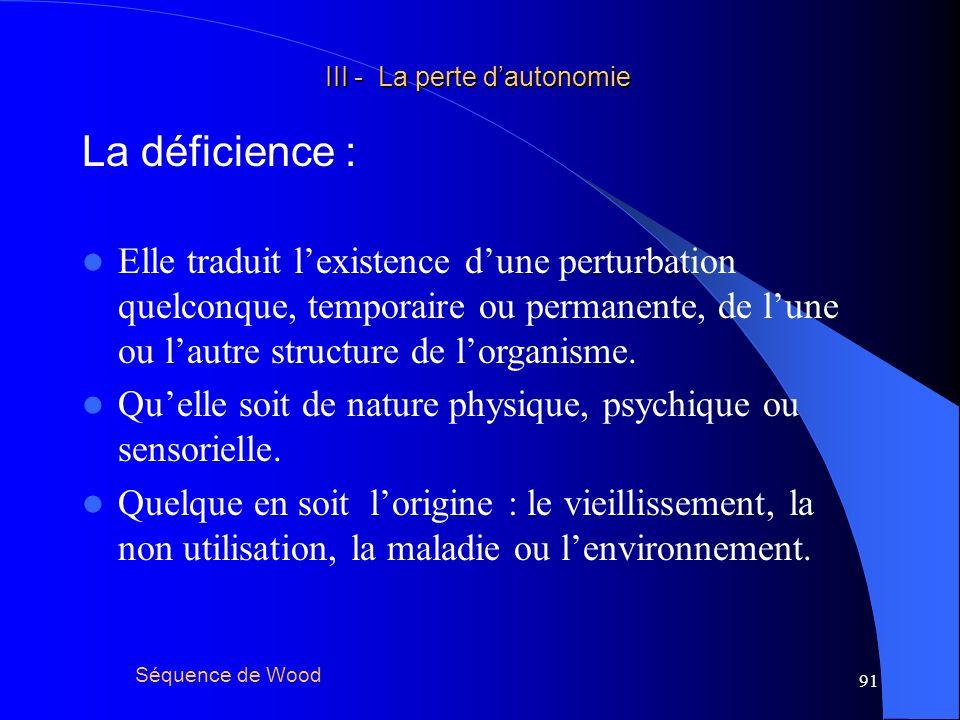 92 III - La perte dautonomie III - La perte dautonomie Lincapacité : Séquence de Wood Elle traduit la réduction ou la perte dune fonction.
