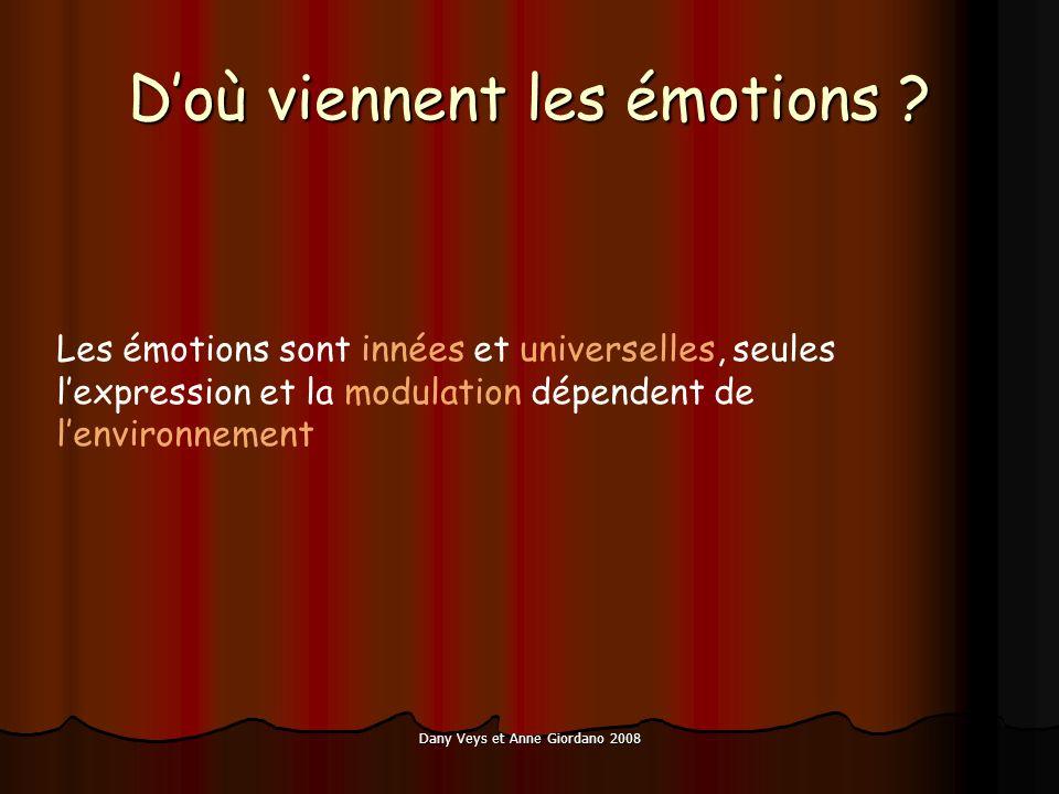 Dany Veys et Anne Giordano 2008 Doù viennent les émotions ? Les émotions sont innées et universelles, seules lexpression et la modulation dépendent de