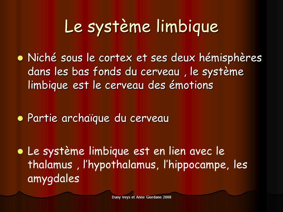 Dany Veys et Anne Giordano 2008 Le système limbique Niché sous le cortex et ses deux hémisphères dans les bas fonds du cerveau, le système limbique est le cerveau des émotions Niché sous le cortex et ses deux hémisphères dans les bas fonds du cerveau, le système limbique est le cerveau des émotions Partie archaïque du cerveau Partie archaïque du cerveau Le système limbique est en lien avec le thalamus, lhypothalamus, lhippocampe, les amygdales