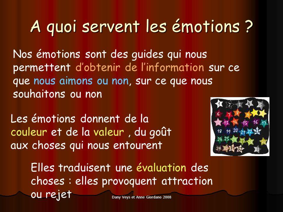 Dany Veys et Anne Giordano 2008 A quoi servent les émotions ? Nos émotions sont des guides qui nous permettent dobtenir de linformation sur ce que nou