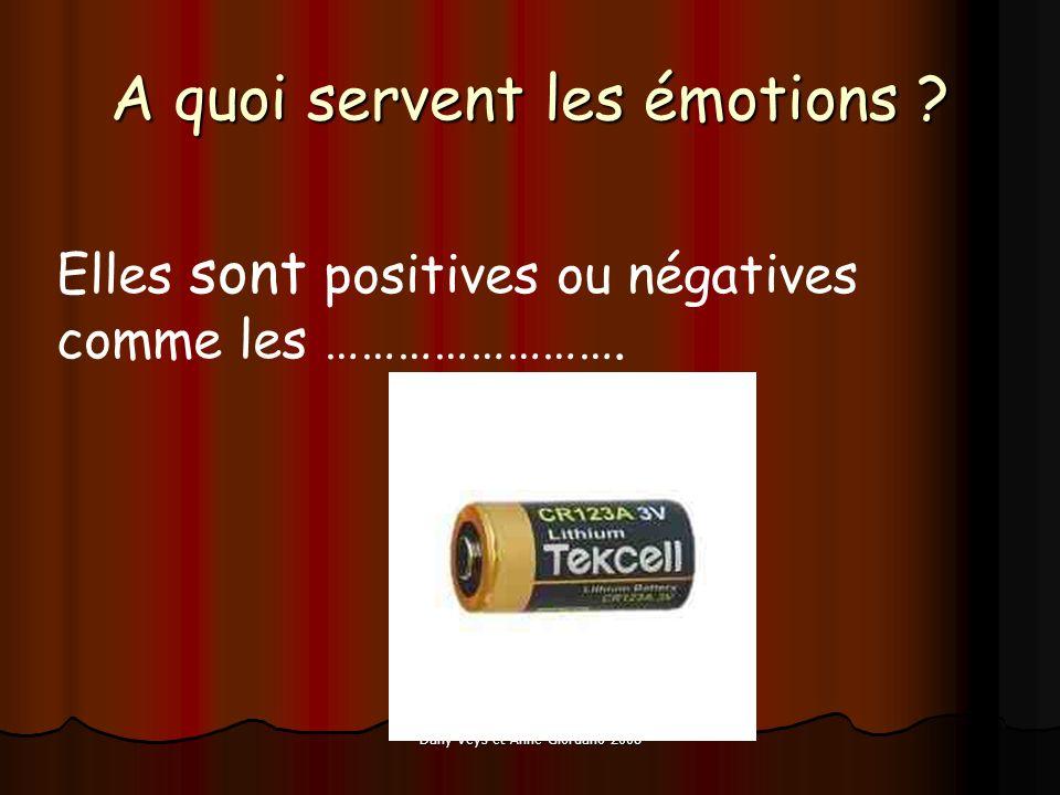 Dany Veys et Anne Giordano 2008 A quoi servent les émotions ? Elles sont positives ou négatives comme les …………………….