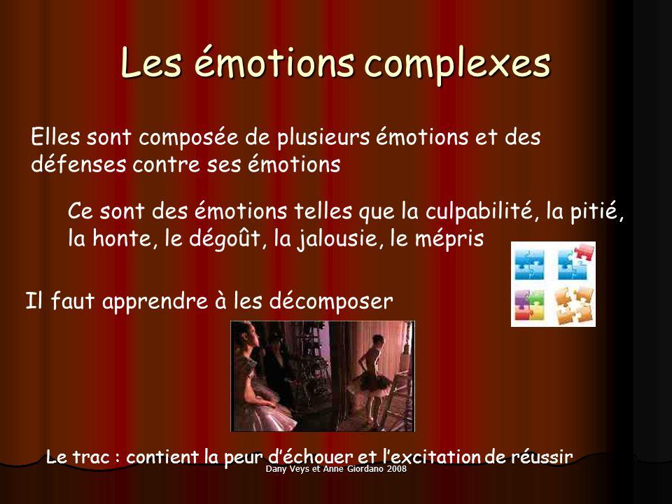 Dany Veys et Anne Giordano 2008 Les émotions complexes Elles sont composée de plusieurs émotions et des défenses contre ses émotions Ce sont des émoti