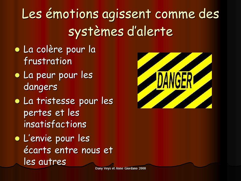 Les émotions agissent comme des systèmes dalerte La colère pour la frustration La colère pour la frustration La peur pour les dangers La peur pour les