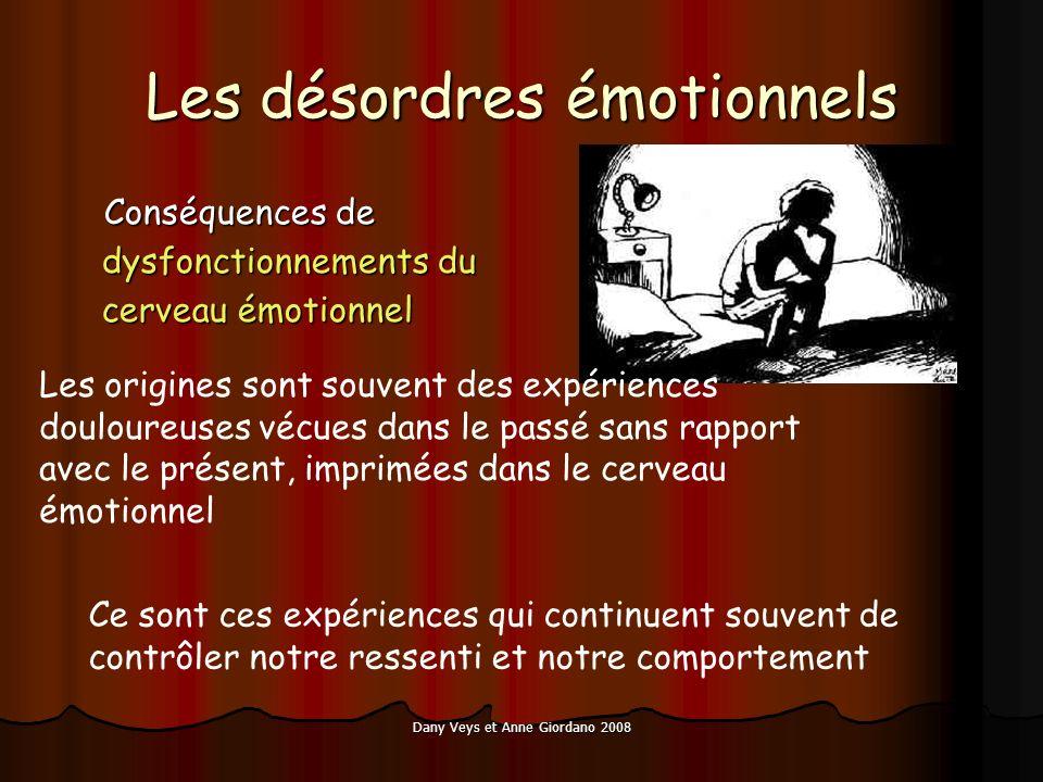 Dany Veys et Anne Giordano 2008 Les désordres émotionnels Conséquences de dysfonctionnements du cerveau émotionnel Conséquences de dysfonctionnements