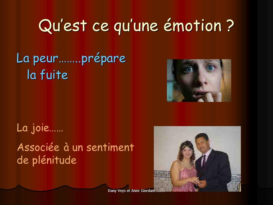 Dany Veys et Anne Giordano 2008 Quest ce quune émotion ? La peur……..prépare la fuite La joie…… Associée à un sentiment de plénitude