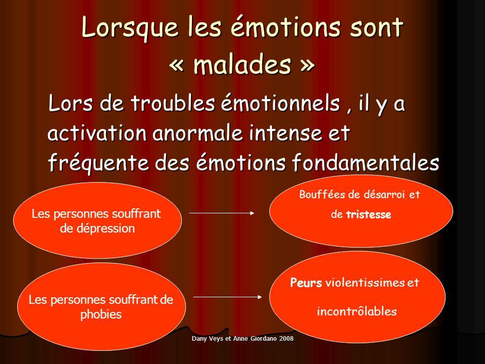 Dany Veys et Anne Giordano 2008 Les personnes souffrant de phobies Lorsque les émotions sont « malades » Lors de troubles émotionnels, il y a activati