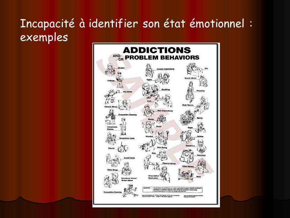 Dany Veys et Anne Giordano 2008 Incapacité à identifier son état émotionnel : exemples
