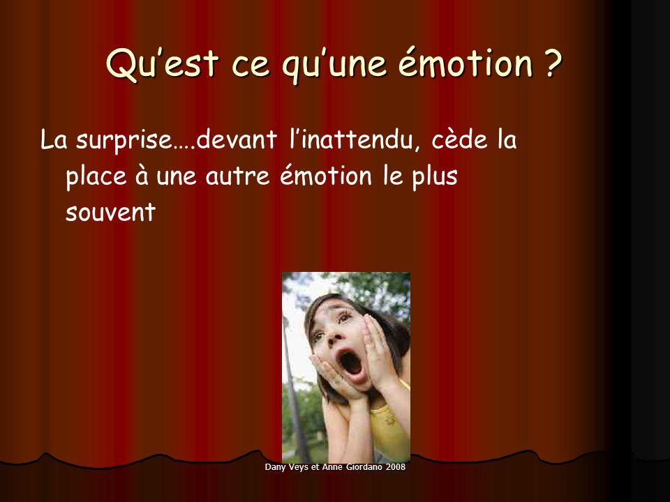 Dany Veys et Anne Giordano 2008 Quest ce quune émotion ? La surprise….devant linattendu, cède la place à une autre émotion le plus souvent