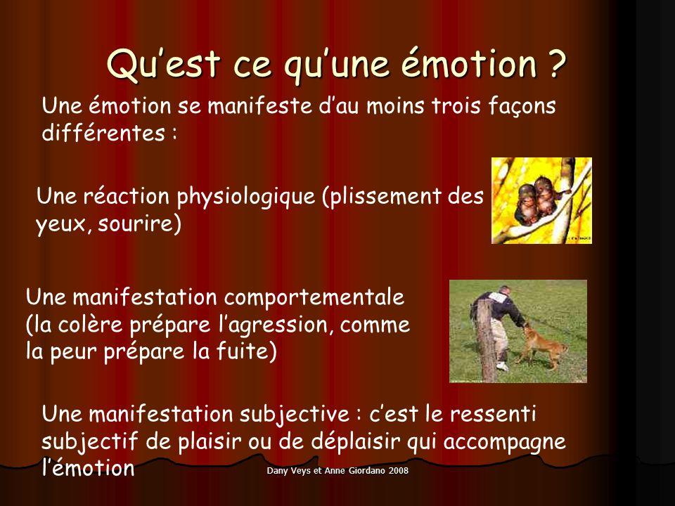 Dany Veys et Anne Giordano 2008 Quest ce quune émotion ? Une émotion se manifeste dau moins trois façons différentes : Une réaction physiologique (pli