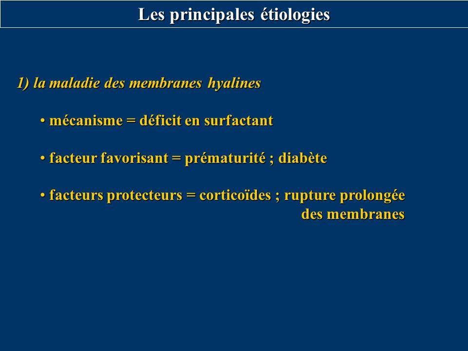 1) la maladie des membranes hyalines mécanisme = déficit en surfactant mécanisme = déficit en surfactant facteur favorisant = prématurité ; diabète fa