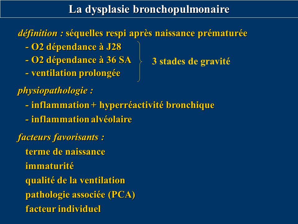 La dysplasie bronchopulmonaire définition : séquelles respi après naissance prématurée - O2 dépendance à J28 - O2 dépendance à J28 - O2 dépendance à 3