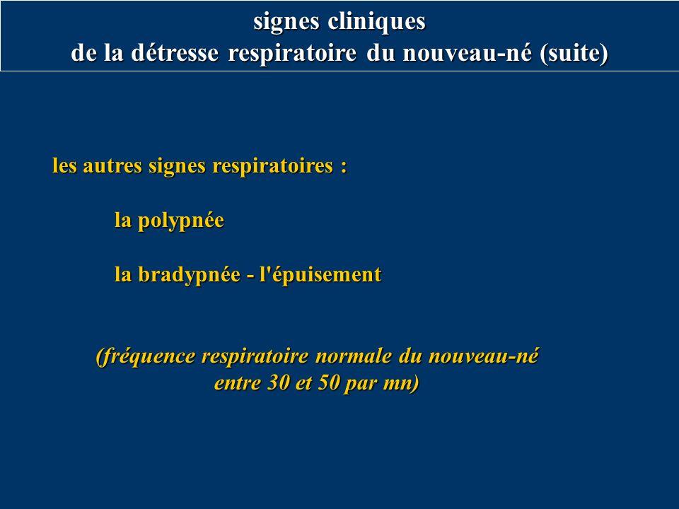 les autres signes respiratoires : les autres signes respiratoires : la polypnée la bradypnée - l'épuisement (fréquence respiratoire normale du nouveau