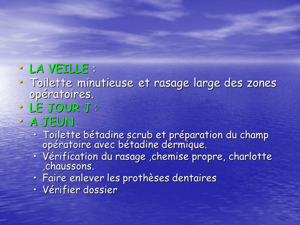 LA VEILLE : LA VEILLE : Toilette minutieuse et rasage large des zones opératoires. Toilette minutieuse et rasage large des zones opératoires. LE JOUR