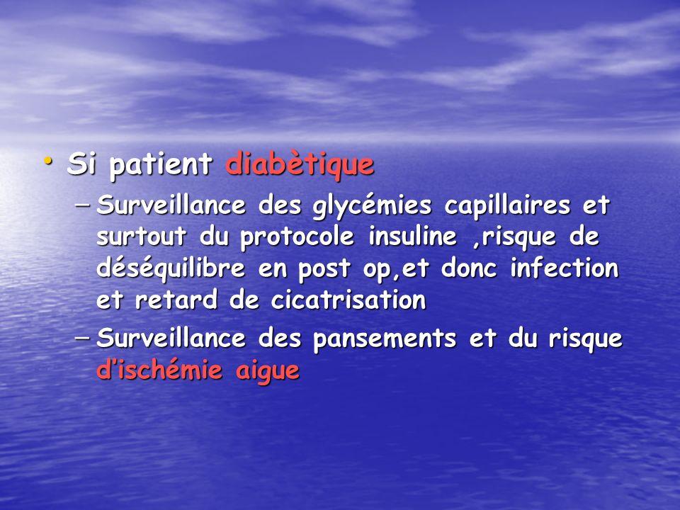 Si patient diabètique Si patient diabètique – Surveillance des glycémies capillaires et surtout du protocole insuline,risque de déséquilibre en post o