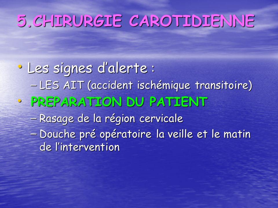5.CHIRURGIE CAROTIDIENNE Les signes dalerte : Les signes dalerte : – LES AIT (accident ischémique transitoire) PREPARATION DU PATIENT PREPARATION DU P