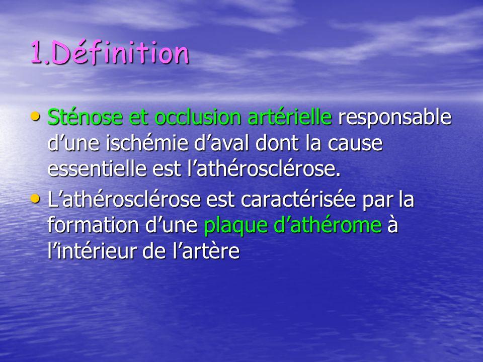 1.Définition Sténose et occlusion artérielle responsable dune ischémie daval dont la cause essentielle est lathérosclérose. Sténose et occlusion artér