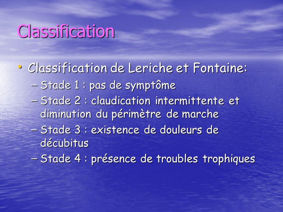 Classification Classification de Leriche et Fontaine: Classification de Leriche et Fontaine: – Stade 1 : pas de symptôme – Stade 2 : claudication inte