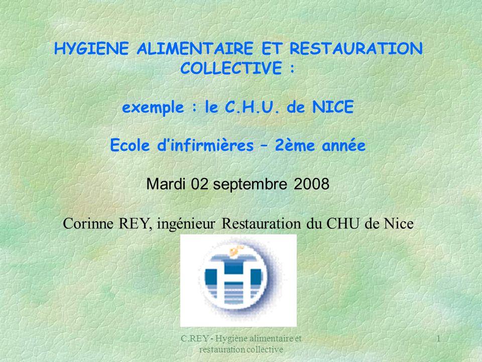 C.REY - Hygiène alimentaire et restauration collective 1 HYGIENE ALIMENTAIRE ET RESTAURATION COLLECTIVE : exemple : le C.H.U. de NICE Ecole dinfirmièr