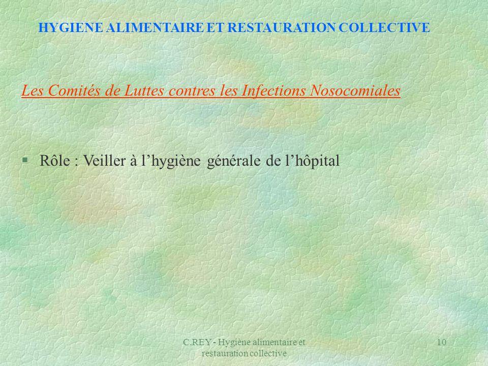C.REY - Hygiène alimentaire et restauration collective 10 Les Comités de Luttes contres les Infections Nosocomiales §Rôle : Veiller à lhygiène général