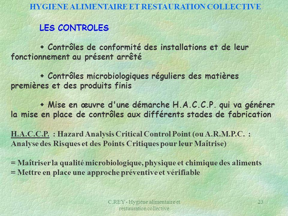 C.REY - Hygiène alimentaire et restauration collective 23 LES CONTROLES Contrôles de conformité des installations et de leur fonctionnement au présent