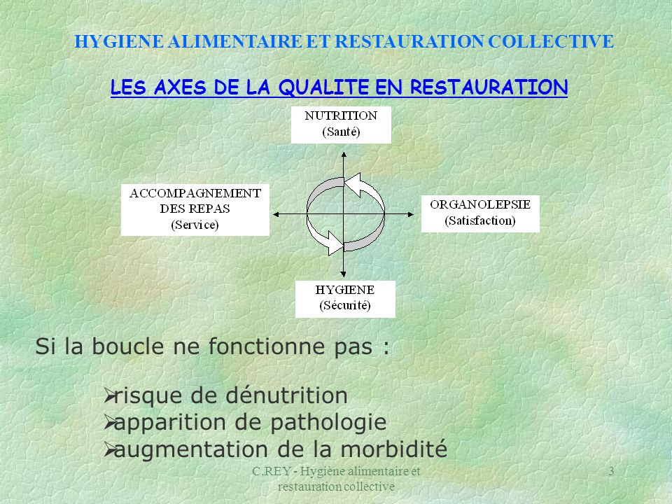 C.REY - Hygiène alimentaire et restauration collective 3 LES AXES DE LA QUALITE EN RESTAURATION Si la boucle ne fonctionne pas : risque de dénutrition