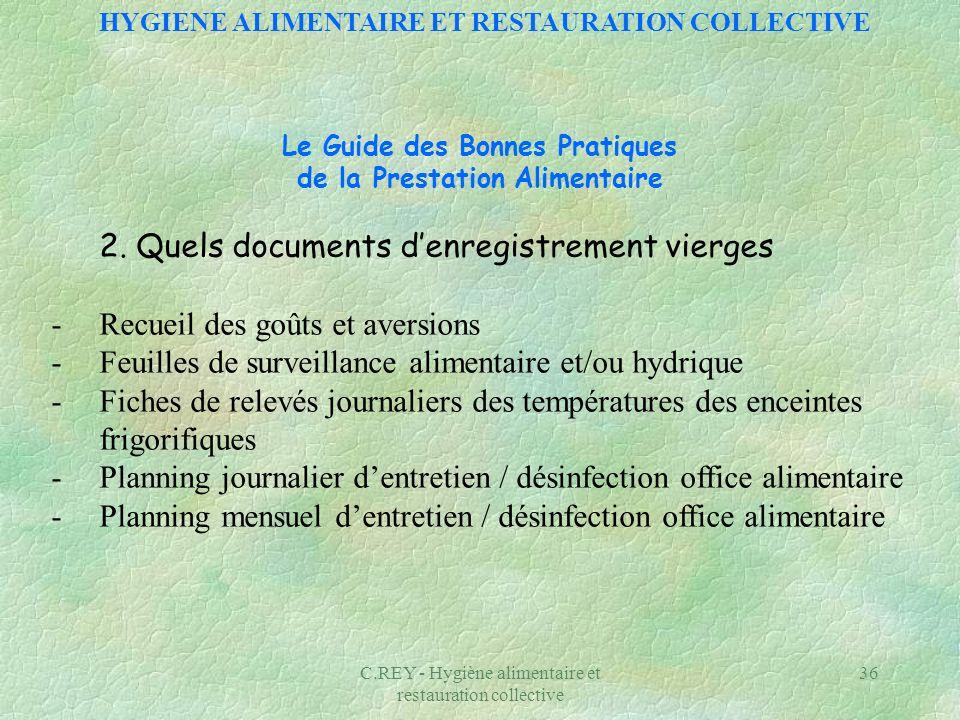 C.REY - Hygiène alimentaire et restauration collective 36 Le Guide des Bonnes Pratiques de la Prestation Alimentaire 2. Quels documents denregistremen