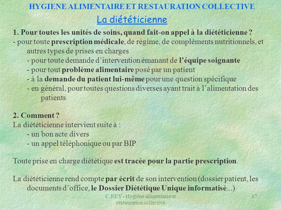C.REY - Hygiène alimentaire et restauration collective 37 La diététicienne 1. Pour toutes les unités de soins, quand fait-on appel à la diététicienne