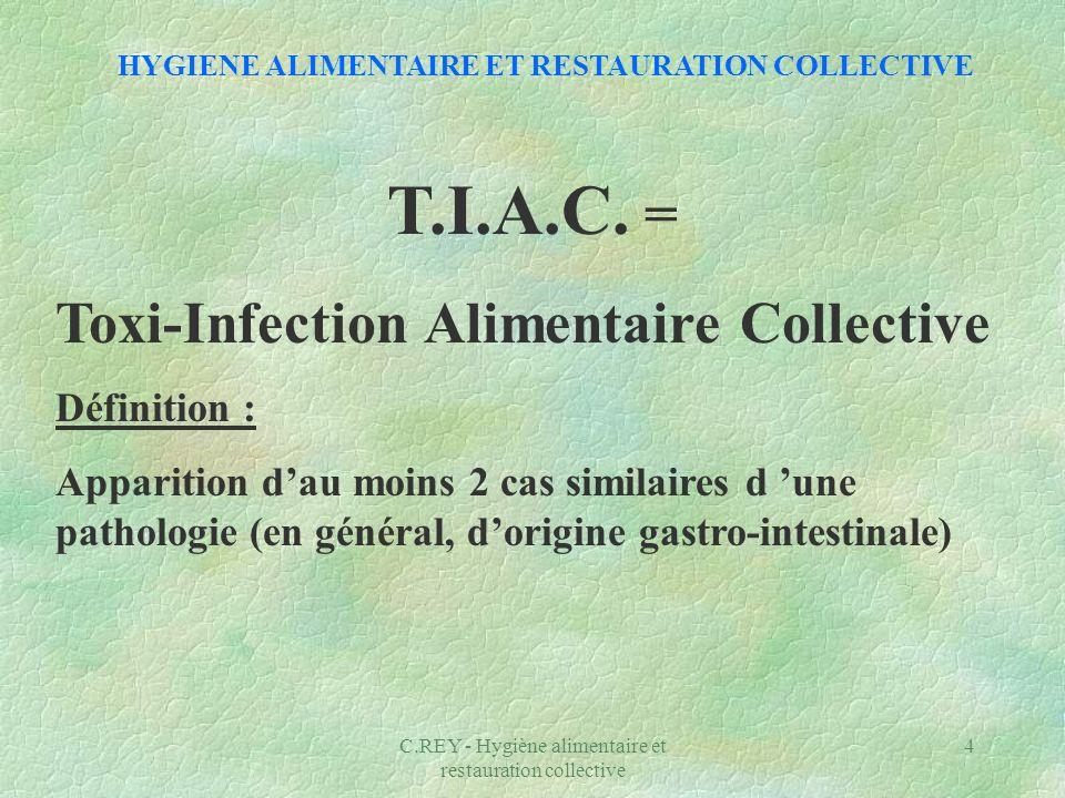 C.REY - Hygiène alimentaire et restauration collective 4 T.I.A.C. = Toxi-Infection Alimentaire Collective Définition : Apparition dau moins 2 cas simi