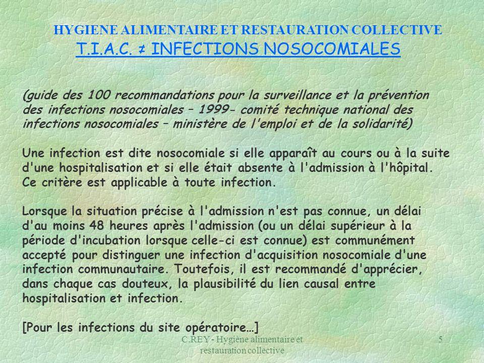 C.REY - Hygiène alimentaire et restauration collective 5 T.I.A.C. INFECTIONS NOSOCOMIALES (guide des 100 recommandations pour la surveillance et la pr